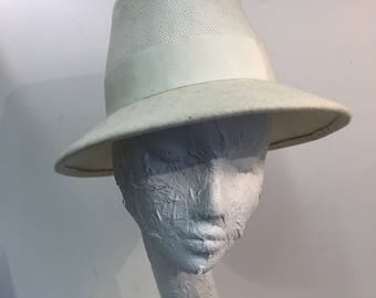 White Trilby hat (Wool and Straw)