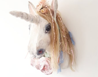 Unicorn head faux taxadermy made to order fantasy fairytale