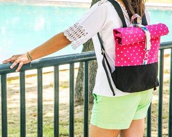 Handmade Polka Dot Roll Top Backpack