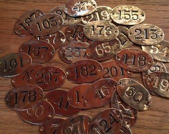 Old Vintage Brass Hotel Room Number Tags