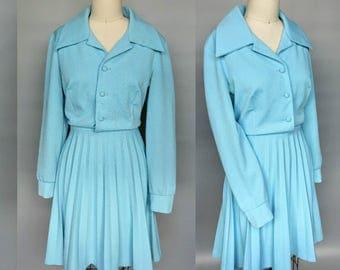 twitter / 1960s bright baby blue mod pleated skirt shirtwaist dress / 12 14 large
