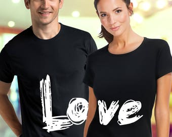 Love t shirt / couple shirts / matching couple shirts / pärchen t-shirts / his and hers shirts / just married shirts / wedding t shirts