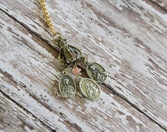 Infant Jesus of Prague handmade holy medal necklace, catholic medals, religious nacklace