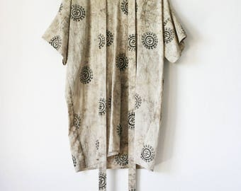 OM Tunic | indian hand block printed, natural, vegetable dye, cotton, oversized t-shirt, tee, loose tunic, boho, bohemian | by Kochab