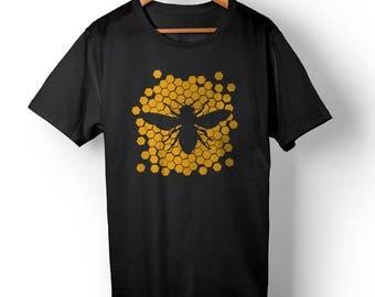 Honey Comb T-shirt for Men - Honey Bee Shirt - Bug T-shirt - Bee Lover Gift - Bumble Bee Shirt - Insect Tee