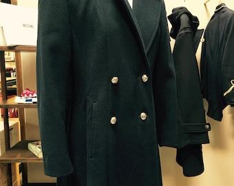 Evan-Picone Double-Breasted Navy Overcoat