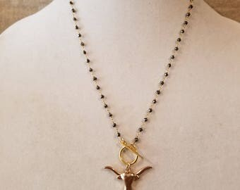 Longhorn necklace, toggle necklace, gold longhorn, steer horns, grey bead, rosary chain, short necklace