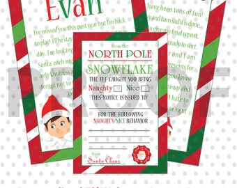 PRINTABLE Elf Set - Personalized Welcome Letter, Naughty & Nice Report Cards From Santa and Goodbye Letter