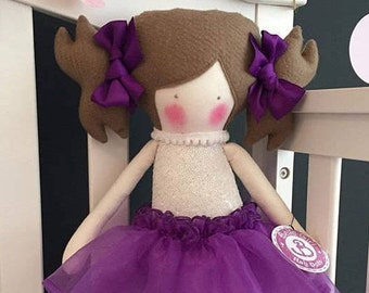 Hand made Bella girl Rag Doll, purple tutu skirt, brown shoes with purple ribbon detail, bailarina style, and hair bows