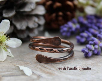 Hammered Copper Wrap Ring, Textured Copper Ring, Patina Copper Ring, Copper Ring, Copper Jewelry, Paddle Ring, Forged Copper Ring, Copper