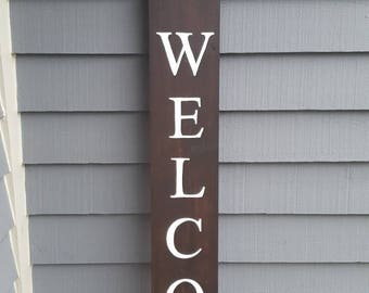 Welcome Sign, Wooden Porch Welcome Sign, Vertical Welcome Sign, Entryway Sign, Garden Sign, Dark Stained Welcome Sign, Kona Welcome
