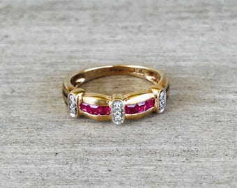 Ruby and diamond vintage band in yellow gold