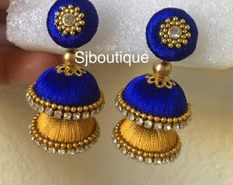 Double Jhumka # Silk thread earrings, layer jhumkas