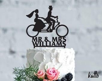 Bicycle wedding cake topper - Wedding Cake Topper- Customizable Wedding Cake Topper- Bike Cake Topper for Wedding- Christmas Gift