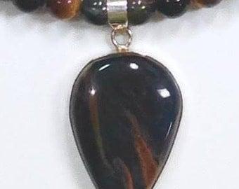 Blue Tiger Eye Sterling Silver Necklace