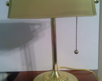 Vintage All Brass Bankers Desk or Office Lamp with Brushed Brass Shade
