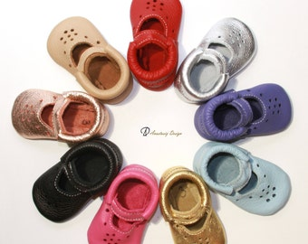 Baby Moccasins, Genuine Leather Baby Shoes, Mary Jane Baby Moccasins, Baby Moccs, Toddler Moccasins, Baby Crib Shoes, Soft Sole Baby Shoes