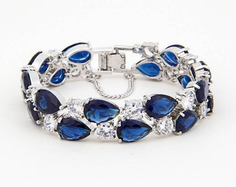 Beautiful Saphire Blue and Clear Crystal Bracelet, Bridal Prom