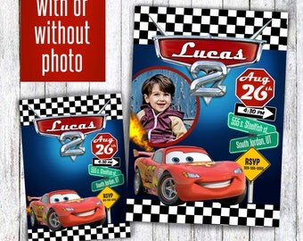 Cars birthday invitation any age with Pixar race car theme kids birthday party , with photo or picture Lightning McQueen cars movie party