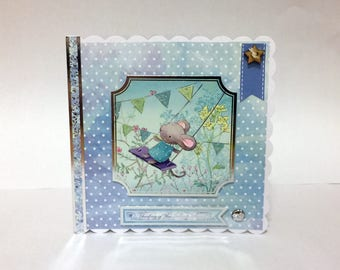 Female Birthday Card - Mouse on a Swing with Bunting - luxury personalised unique special bespoke UK - Mum/Daughter/Aunt/Sister/Niece/Wife