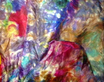 hand painted silk scarf, original, rainbow colours, red, blue, purple, yellow, green, brown, unique, woman's scarf, shawl, wrap, sarong