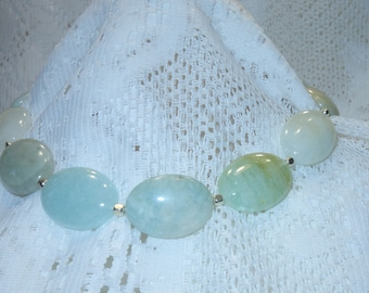 Beryl Aquamarine Statement Necklace with Sterling Silver Clasp