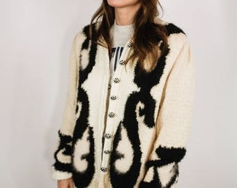 Vintage 80s cream wool and mohair abstract cardigan