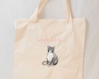 Cat lover - Canvas zippered tote bag with embroidered cat - for the cat lover
