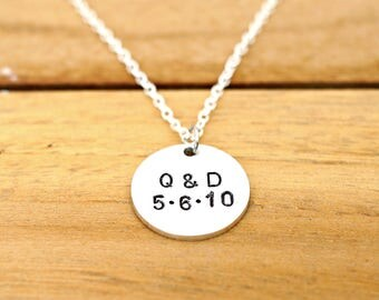 personalized initial date necklace handmade