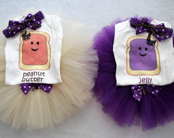Peanut Butter and Jelly outfit for twin girls/Peanut butter and jelly outfit for sisters/Twin girls tutu outfits/Twin girl shirts