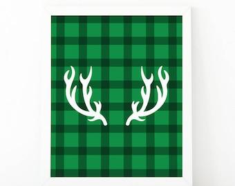 Deer antlers, reindeer print, Christmas print, Christmas decor, greenplaid, christmas printable, deer print, Chritsmas wall art, holiday