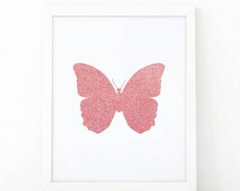 Butterfly print, Printable Nursery Art, Baby Girl Nursery Prints, Butterfly wall art, Pink Gold, Kids Wall Art, printable art, shooshprints