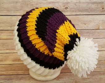 Purple Yellow Slouchy Hat, Purple Yellow Black Sports Team Hat, Ravens Hat, Knitted NFL Hat, Knitted Baltimore Ravens Hat, Ravens Beanie