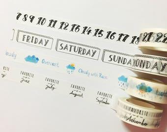 Days of the Week Washi Tape, Months of the Year Washi Tape, Japanese Washi Masking Tape, Calendar Tape, Number Washi, Weather Tape, Weekday