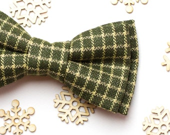 Birthday gift Wool Green Plaid bow tie Bow tie for men Gift for birthday Coworker gift Best friend gift Gift for father Christmas gift