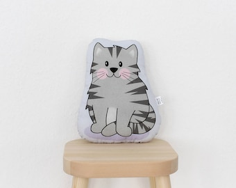 Cat - Gerry - lavender grey - plush stuffed animal pillow kids room nursery