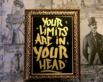 Your Limits are in Your Head 2 - golden oil painting - handmade