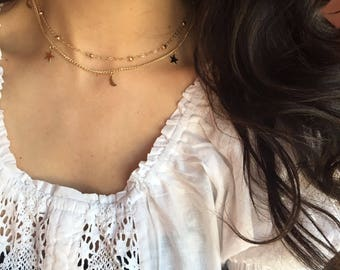 Gold  moon and star necklace gold choker moon choker star necklace   prom choker  bridesmaid choker