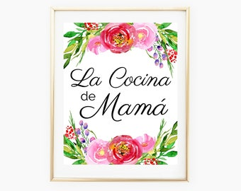 Spanish Printable Quote Wall Art, Moms Kitchen Spanish Home Decor, Spanish Prints Quotes Printable Wall Art
