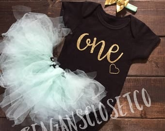 ONE First Birthday outfit, First Birthday Outfit, Tutu Outfit, Girls Birthday, Tutu, One, First Birthday, First Birthday Set, Tutu Set,