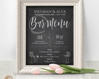 Bar Menu Sign / Wedding Bar Menu / His and Hers Bar Menu Template / DIY Custom Printable Chalkboard Sign  #PTL1_01_34