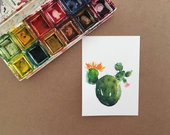 ACEO Original Watercolor Painting, Original Watercolor Cactus Painting, Succulent plant,Cactus Decor,Home Decor Wall Art, Miniature Painting
