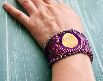 Queen of the Tribe - Beaded Textile Cuff Bracelet - Tribal Bellydance Jewelry Ethnic Boho lobster clasp - Handmade in Kansas, USA