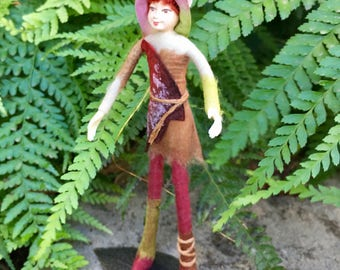 "Fae Folk® Fairies - FLAME - highland elf. Bendable, posable 5"" soft doll can sit, stand, or hang."