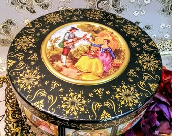 Beautiful Biscuit Tin by Atlantic Can Co., Fragonard Love Story Lithographed Tin, Metal Storage Container, Victorian Cannister with Lid