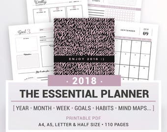 2018 ESSENTIAL PLANNER, printable, 2018 year calendar, monthly planner, weekly planner, goals, habits & tasks, note pages, weekly schedule