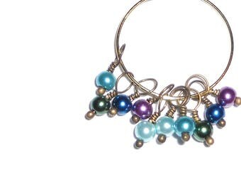 10PC. Purple/Green/Blue Mix Pearlized Glass 13MM x 4MM Handmade Bead Dangle Charm/10Pc. Bead Charms Adorned with Antique Bronze Tone Accents