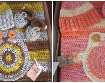 Crochet Baby Blanket, Booties and Hat Set- Owl Themed-  Two Color Selections!