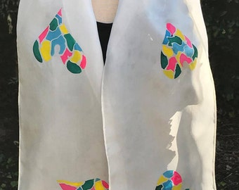 "Heart ""Stain Glass"" White Silk Scarf"