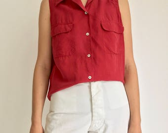 Vintage Red Silk Top | Red Silk Shell | 90s Red simple silk top | Washed Silk Shirt | Red Silk Shirt